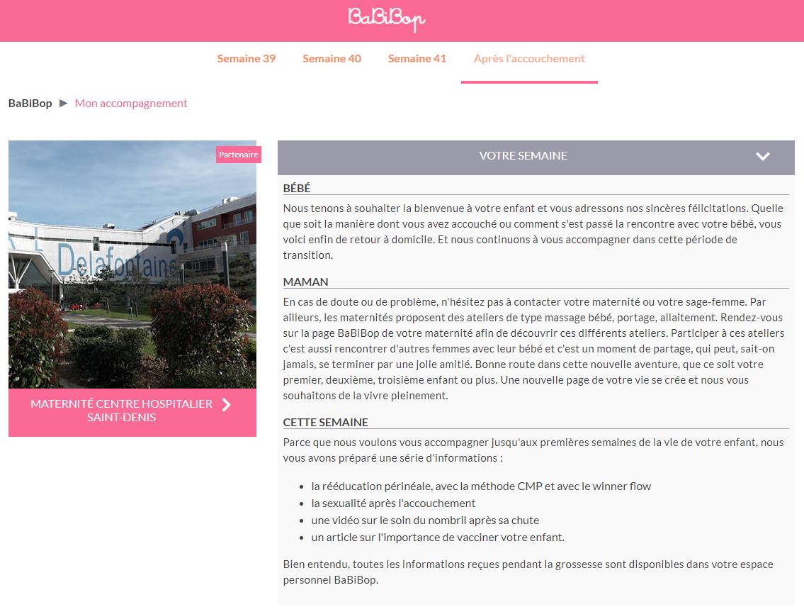 Capture d'écran d'une page exemple de sage-femme